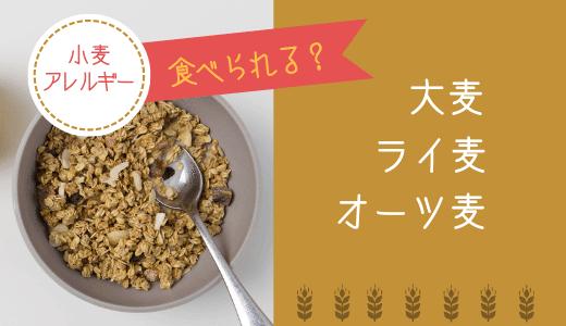 大麦・ライ麦・オーツ麦は小麦アレルギーの人は食べられる?