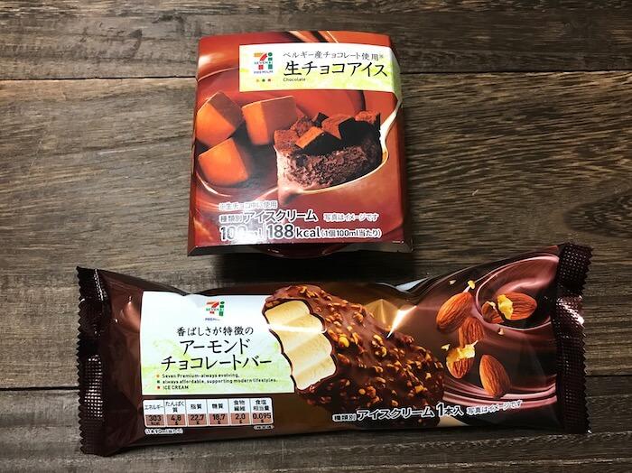 生チョコアイスとアーモンドチョコレートバー